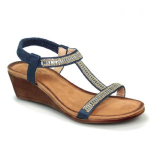 Lunar Womens Tabitha Wedged 'T' Bar Navy Blue Sandal